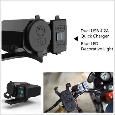 Dual USB ATV Moped Scooter Charger Bar Mirror Mount Cigarette Lighter Socket Lighter Socket Mount