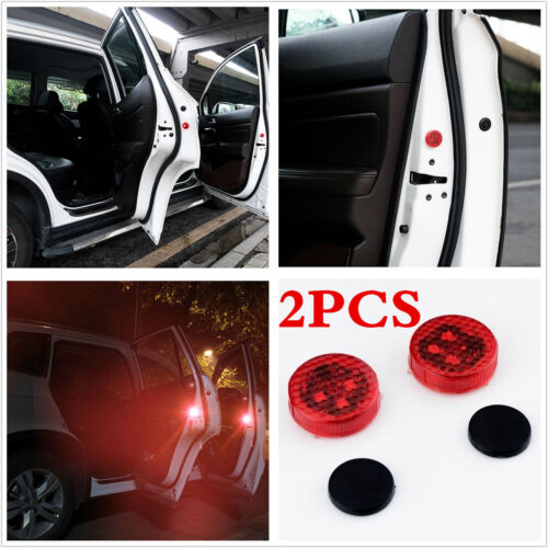 2pcs Car LED Door Opened Warning Light Wireless Flash Light Avoid Crash Lamp Red