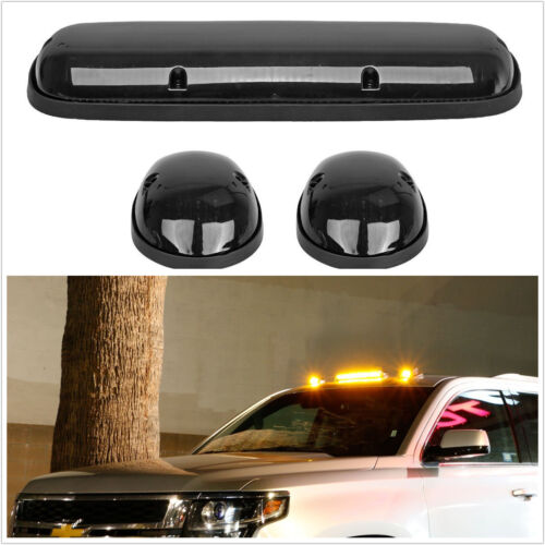 3pc Smoked Cab Roof Marker Running Lights For Truck SUV 4x4, Amber LED Lamps