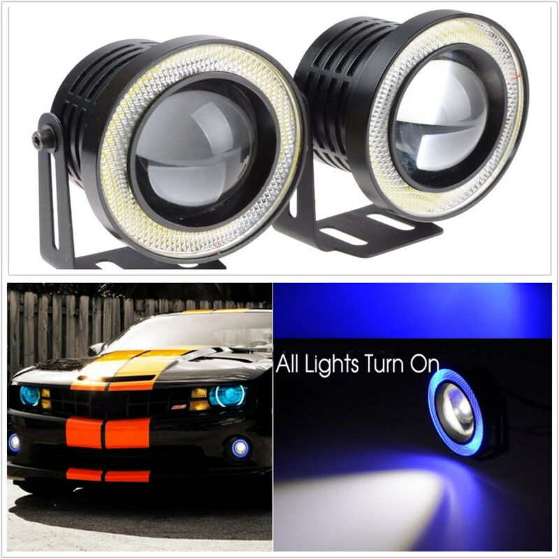 2 Pcs 10W blue Universa  Angel Eyes Halo Fog Light Lamp Projector DRL COB LED