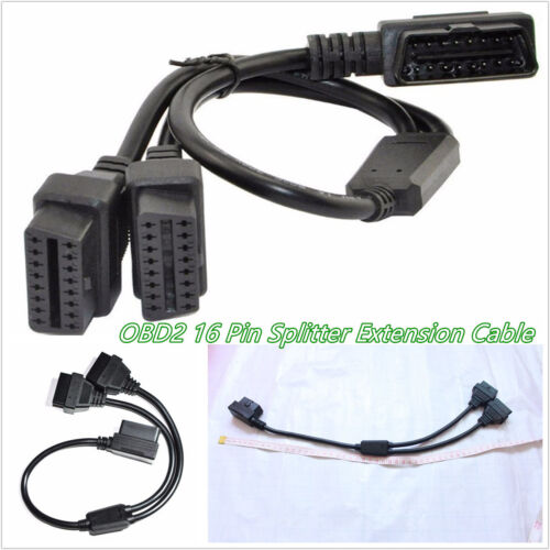50cm/1.6 Feet Autos Off-Road OBD2 16-Pin Right Angle Y Splitter Extension Cable
