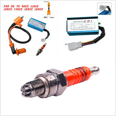 Ignition Coil+5 Pin AC CDI+A7TC Spark Plug M10x1 For 50-160cc Dirt Bike ATV Quad