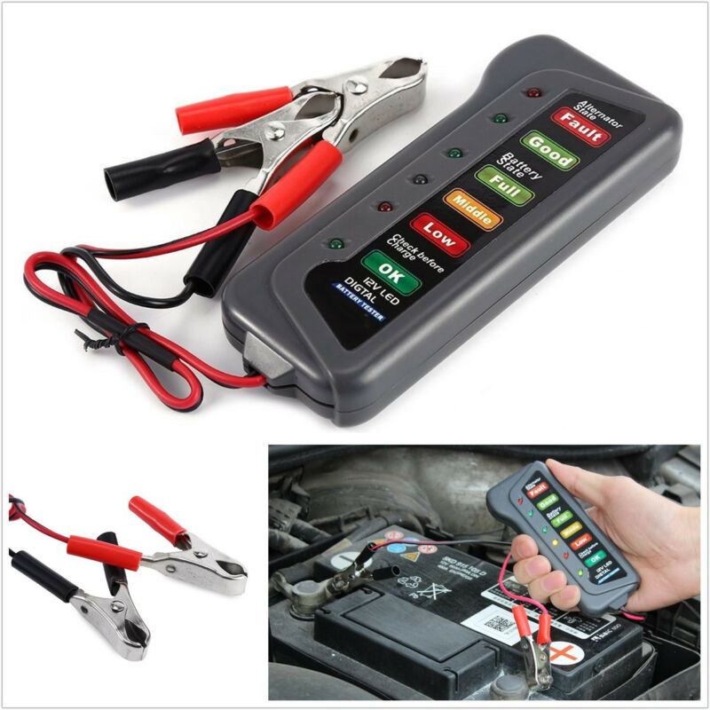 Automobiles Mini Digital Battery 12V Alternator Tester With 6LED Lights Display