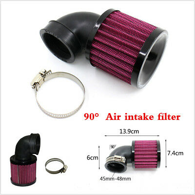 Touring Moped Scooter - Black 90° Angled Round Moped Scooter ATV Mesh Air Filter Universal 45-48mm Inlet