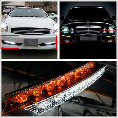2 X Dual Color LED Car Off-Road DRL Light Daytime Running Lamp Turn Signal Bulbs