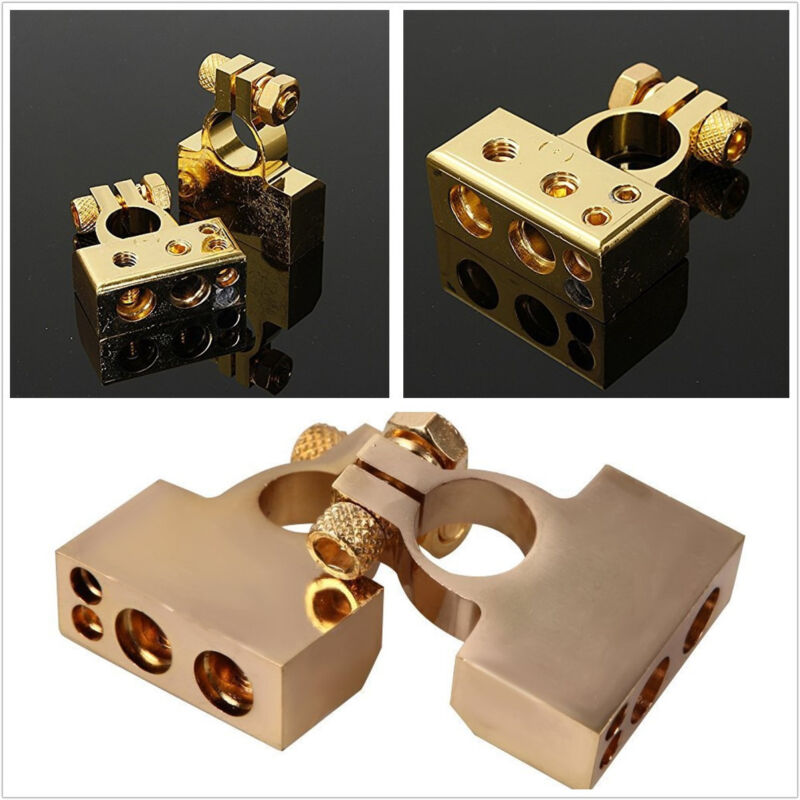 2 Pcs Metal Golden Color Car Positive Negative Battery Terminals Connectors Kit