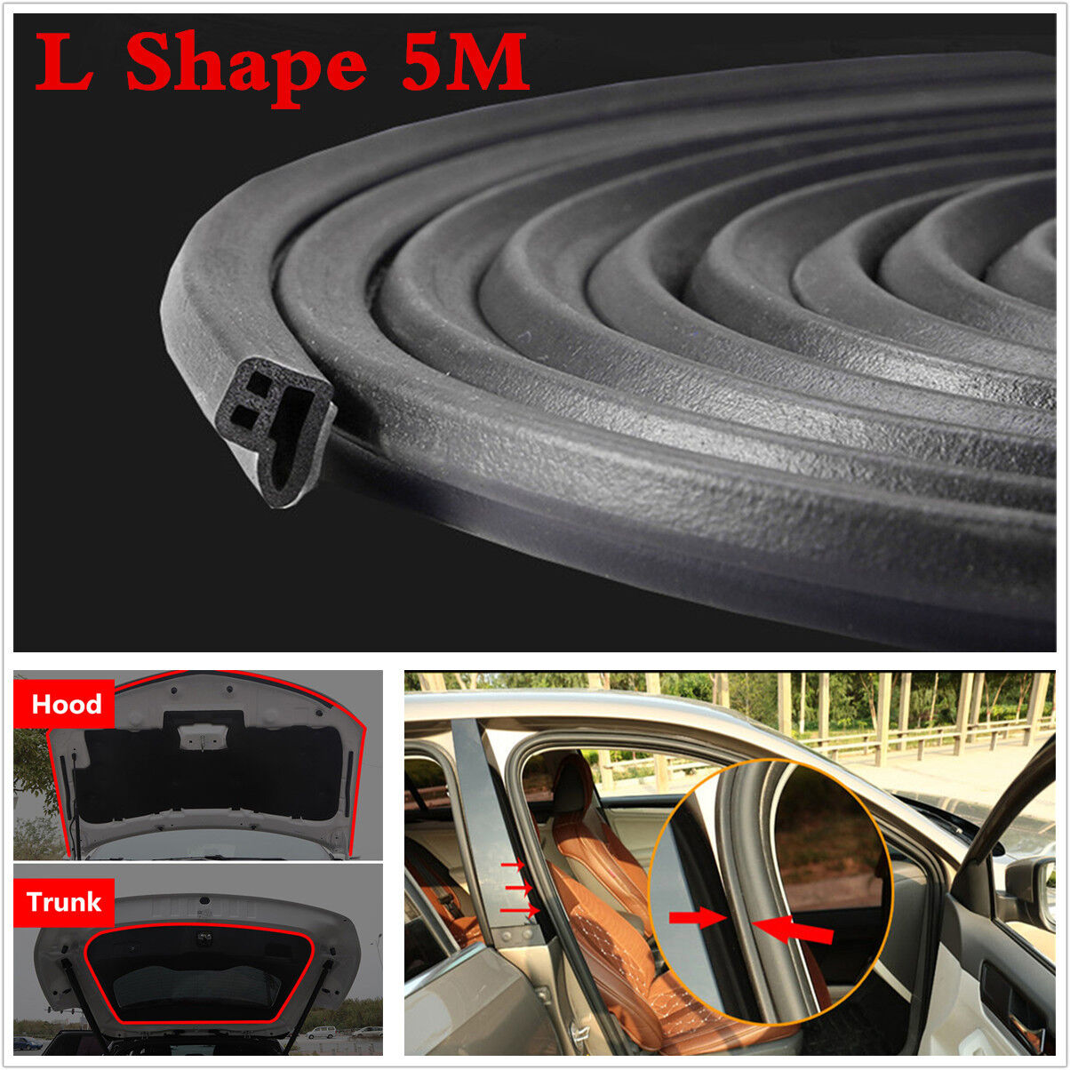 Car Parts - 5M L Shape Car Door Hood Trunk Trim Edge Moulding Rubber Weatherstrip Seal Strip