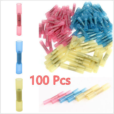 100 X Mixed Heat Shrink Butt Electrical Terminals Wire Cable Connector 22-10 AWG