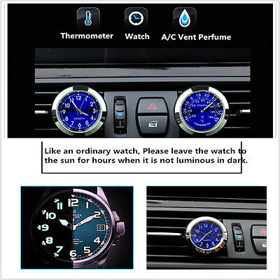 Car Clock Watch Thermometer A-C Vent Clip Gauge Trim Perfume Refill Storage+ LED