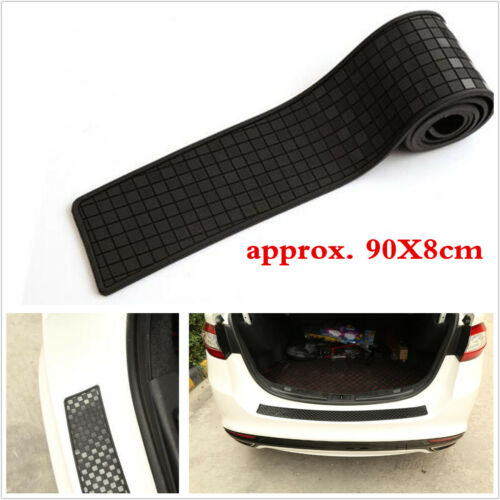 90cm Car Rear Bumper Sill Protector Rubber Trim Cover Carbon Fiber Lattice Strip