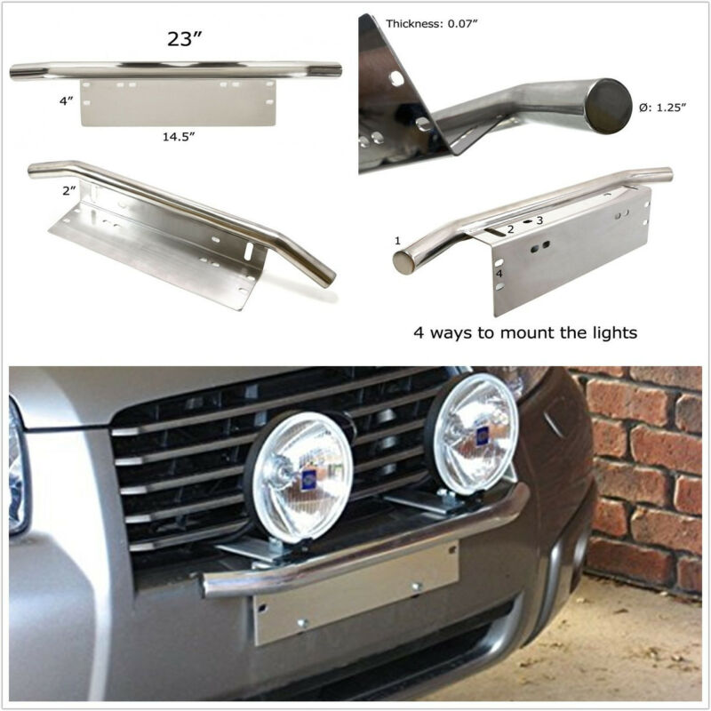 23'' Silver Metal Truck Front Bumper License Plate Working Light Bracket Holder
