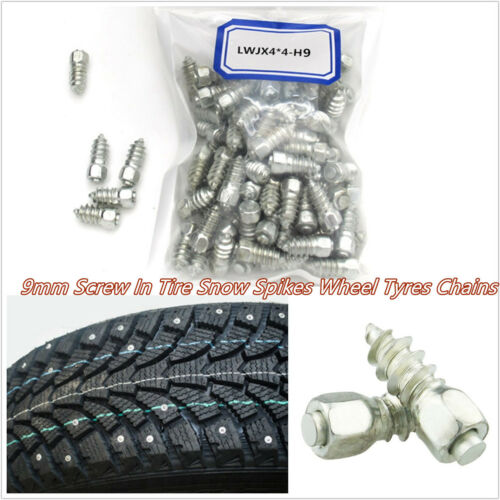 100 Pcs Metal Car Off-Road 9mm Screw Wheel Tyre Snow Anti-Slip Spikes Studs Kits