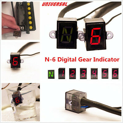 Waterproof Universal 12V 6 Speed N-6 Digital Shift Lever Gear Indicator Display
