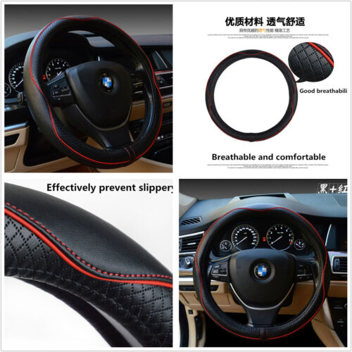 100% Genuine Cowhide Leather 38cm Car Steering Wheel Cover Breathable Non-Slip