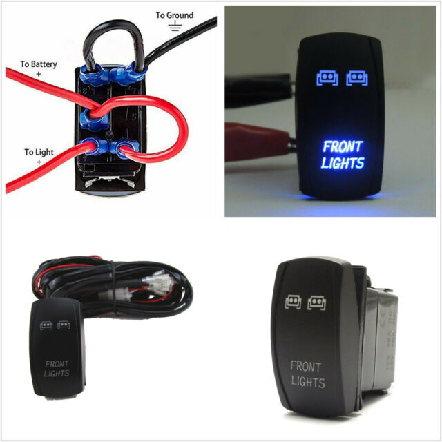 Autos Waterproof Front Light 5 Pin Blue Led Rocker Switch