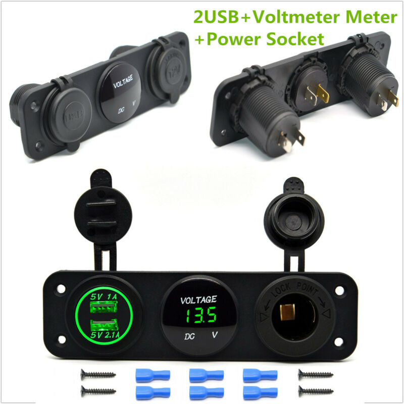Green 3IN1 CAR BOAT VOLT METER USB PORT CIGARETTE SOCKET SWITCH PANEL MOUNT KIT