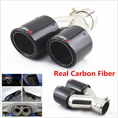 Glossy Black Real Carbon Fiber Car Dual Pipe Exhaust Pipe Tail Muffler Tip Right