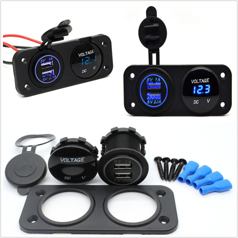 Multi Function Panel Switch Blue LED Dual USB Charger+ Voltmeter Car Truck Boat