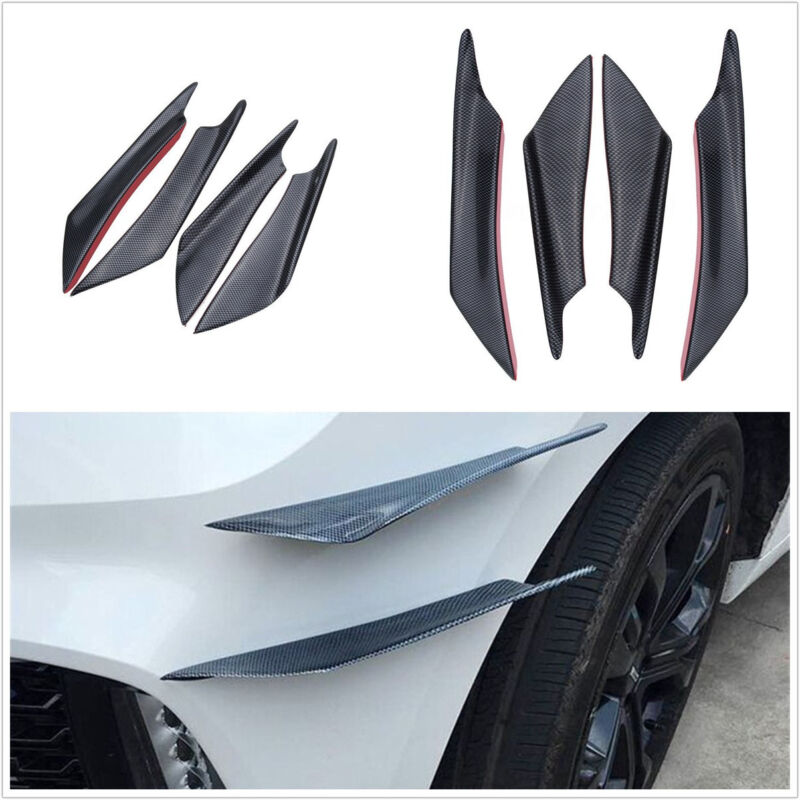 4 Pcs/Set Carbon Fiber Texture Car Front Bumper Fin Body Spoiler Decor Fin Black