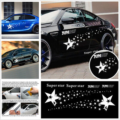 One Pair High Quality Super Star Badge Racing Car Body Side Long Stripe Decal