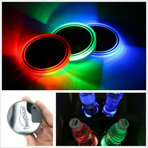 2x (65mm) USB Charge 7 Colors RGB LED Car Cup Holder Bottom Pad Atmosphere Light