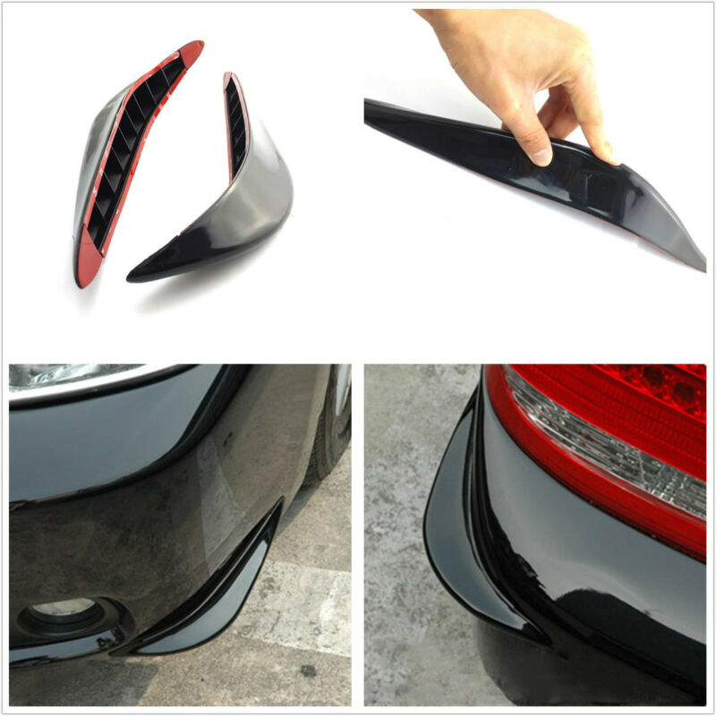 2 Pcs Soft Plastic Black Car Front Bumper Anti-Rub Protection Sticker For Toyota