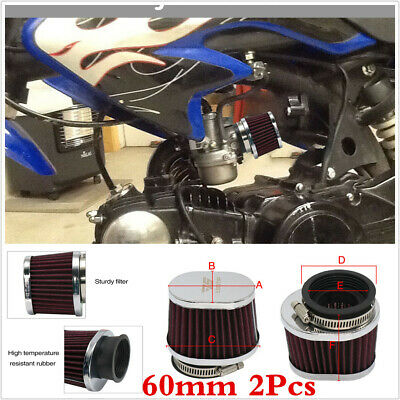 Air Filter 60MM 2Pcs Motorcycle Scooter Pit Bike Air Cleaner Intake Filter Kits