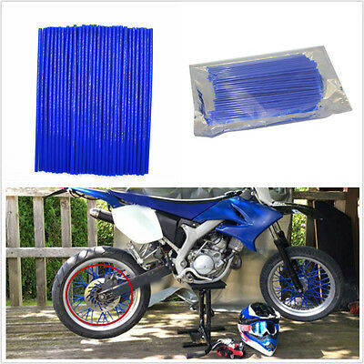 72 X BLUE PVC MOTORCYCLE MOTOCROSS DIRT BIKE ENDURO WHEEL RIM SKINS SP