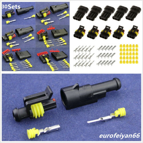 30 Sets Plastic Waterproof 1/2/3/4/5/6 Pins Car Sealed Electrical Wire Connector