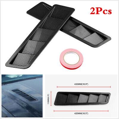 Universal 2Pcs Carbon Pattern Car Hood/Bonnets Air Vent Louver Panel Trim ABS