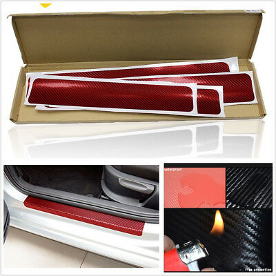 4 PcsSet Red 4D Car Accessories Door Sill Scuff Carbon Fiber Grain Stickers Kit