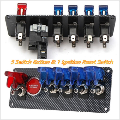 Professional 12V 4+1 LED Toggle Button Racing Car Vehicle Ignition Switch Panel
