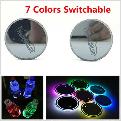 7 Colors 2X USB Cup Holder Bottom Pad LED Light Trim Atmosphere Lamp For All Car