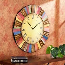 Large Wall Clock Decorative Round Multi Color Rustic Style Roman Numerals GIFT