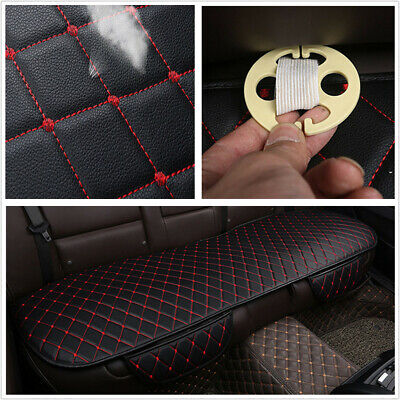 Car SUV Accessories Back Seat Cover Rear Bench Cushion Black PU Leather Red Line