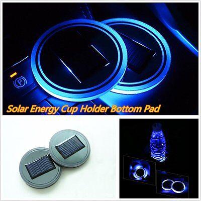 2 Blue Solar Cup Holder Bottom Pad Mat LED Light Trim For All Cars All Models