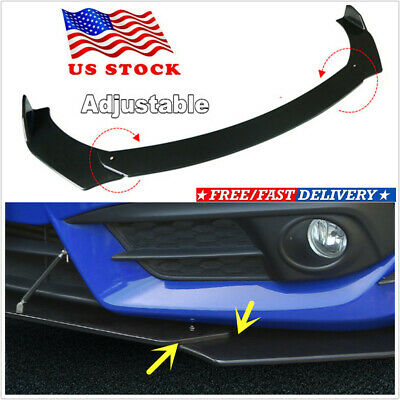 3Pcs Black Front Bumper Lip Chin Spoiler Splitter Wing Body Full Surrounded USA