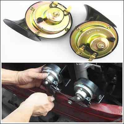 Car Parts - 2 x Black Loud Dual-tone Snail Electric Horn 110 dB Universal 12V Car Truck USA