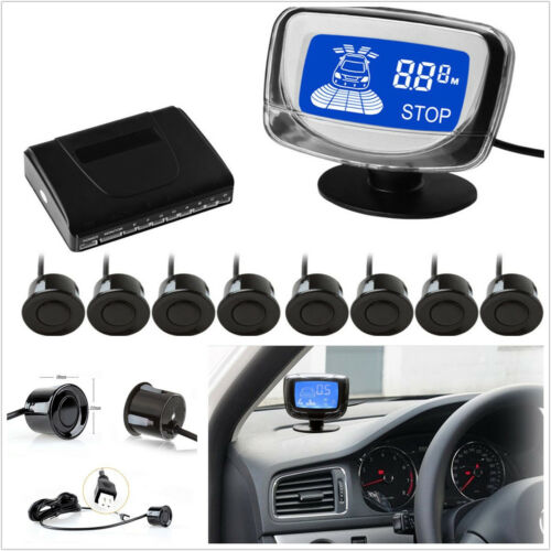 Car Black 8 Parking Sensors Front&Rear Voice Alert Backup Radar System Detector