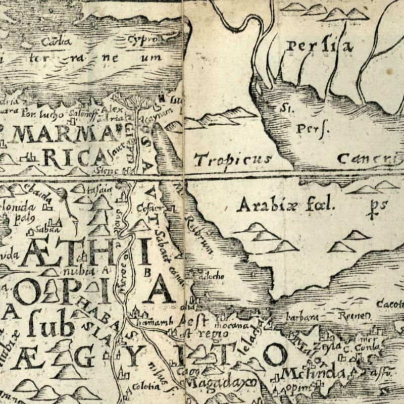 East North Africa Arabia Felix Egypt Nubia 1576 Petri rare woodcut old map
