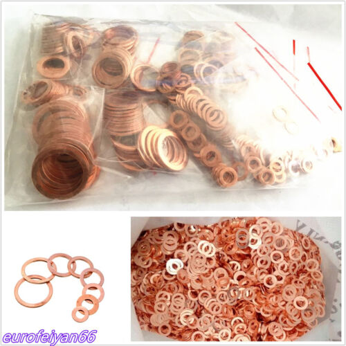 300 Pcs 12 Sizes Car Truck Solid Copper Crush Washers Seal Flat Rings Gasket Kit
