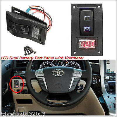 12V RV Car SUV Marine Boat Voltmeter LED Dual Battery Test Panel Rocker Switch