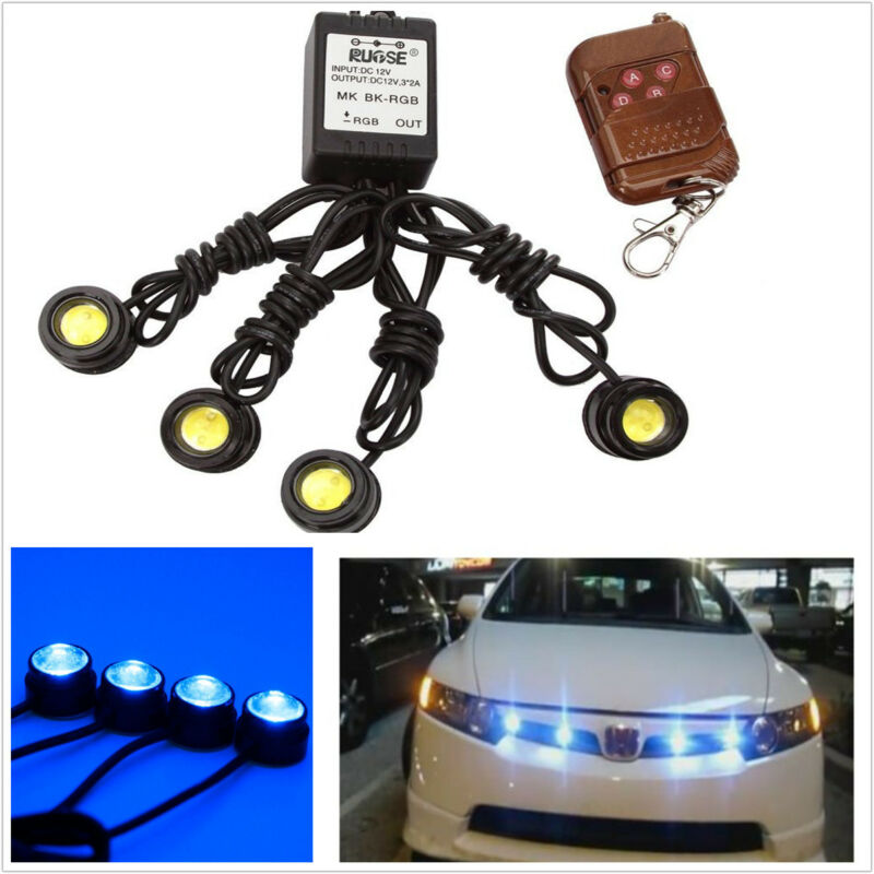4pc LED Blue Grille Lighting Fit Truck SUV For Ford SVT Raptor Style Universal