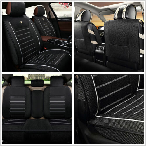 A Set Black Linen Fabric Car Off-Road Seats Chair Cover Front Rear Protector Mat