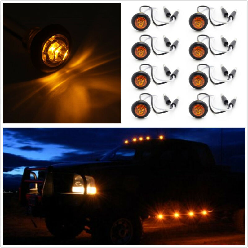 8 Pcs LED Amber Hawkeye Flashing Emergency Grille Lighting chassis Light Warning