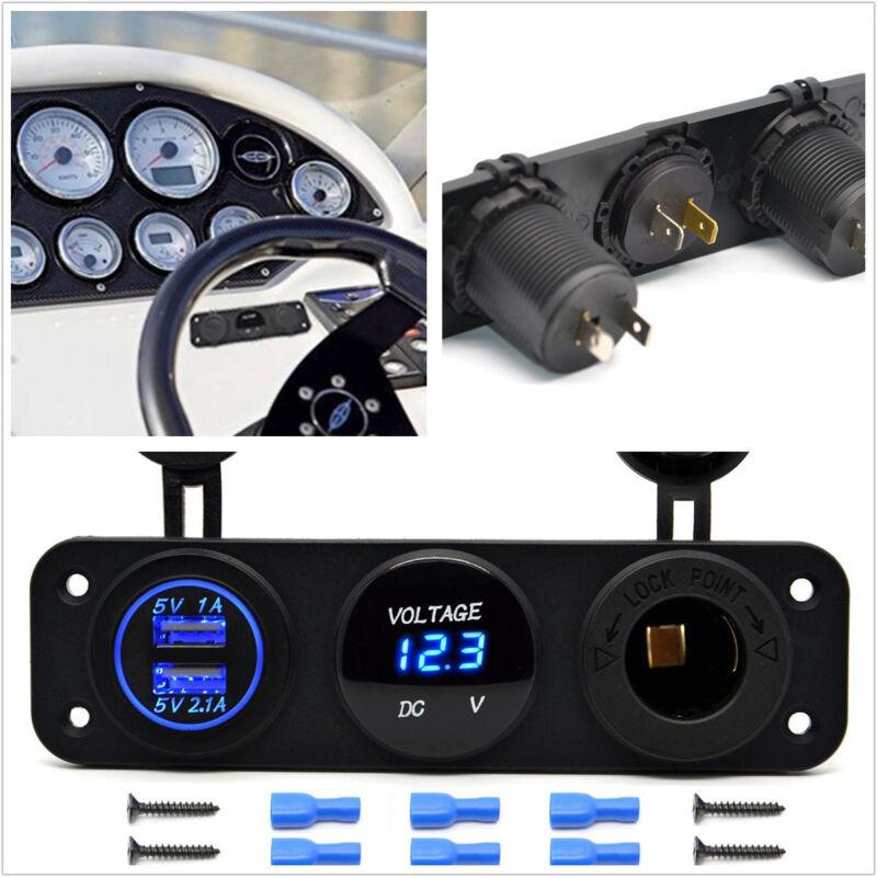 12-24V Dual USB Blue LED Car Motorcycles 3 Hole Panel Charger Digital Voltmeter
