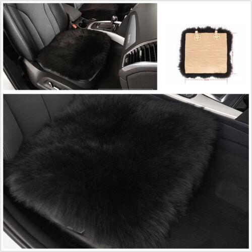 Black Soft Genuine Sheepskin Long Wool Fur Car SUV Seat Breathable Cushion Mat