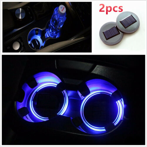 2pcs Solar Energy Car Truck Cup Holder Bottom Pad Mat Blue LED Light Cover Trim