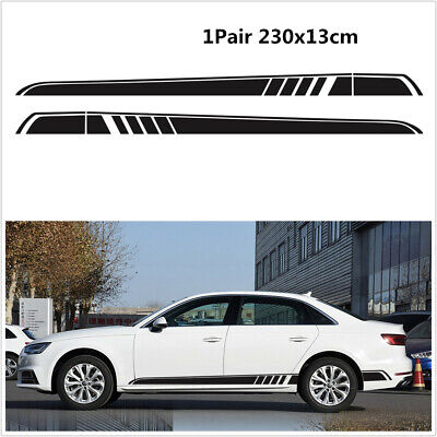 Black Both Side Body Vinyl Decal Sticker Sports Racing Car Long Stripe Decals