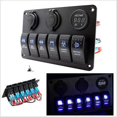 New 6 GANG 12V MarineBoat On Off Switch Panel  Cigarette Lighter Socket